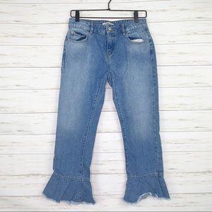 Zara | Raw Edge Hem Jeans with Seams